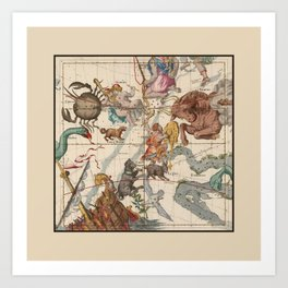 Pictorial Celestial Map with Constellations Gemini, Orion, Taurus, Cancer Art Print