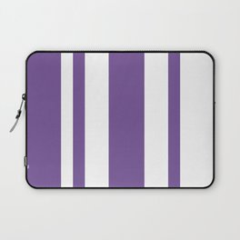 Mixed Vertical Stripes - White and Dark Lavender Violet Laptop Sleeve