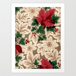 Vintage Decorative Beige Nature Garden Pattern Art Print