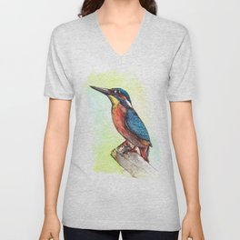 kingfisher / watercolor painting / fineliner Unisex V-Neck