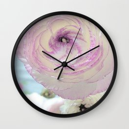 WHITE RANUNCULUS FLOWER Wall Clock