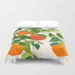 Oranges and Blossoms II / Tropical Fruit Illustration Duvet Cover