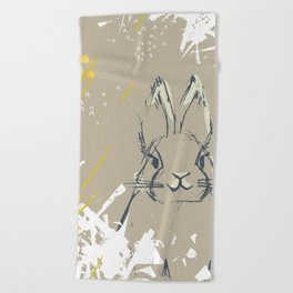 Bunny Portrait M+M Latte by Friztin Beach Towel