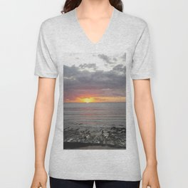 colorful sunset in new zealand on black sand Unisex V-Neck