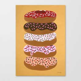 Stacked Donuts on Yellow Canvas Print