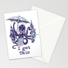 MultiTasker Beach Loving Octopus Stationery Cards