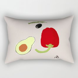 Looking at Avocado. Smiling Vegetable Face. Positive Vegetarian Vibes Kitchen Wall Decor Rectangular Pillow