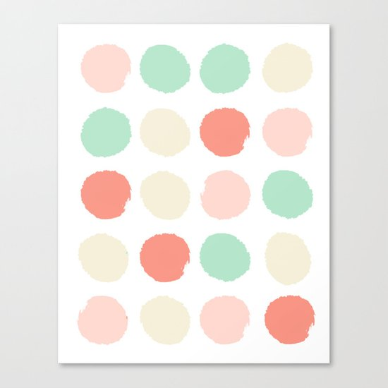 Abstract minimal polka dots pastels painted trendy modern color palette Canvas Print