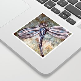 Rustic Dragonfly Art Sticker