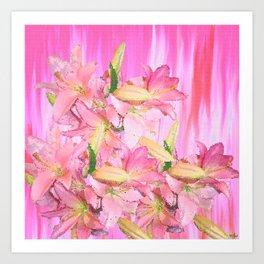 Pink Lily Mosaic Art Print
