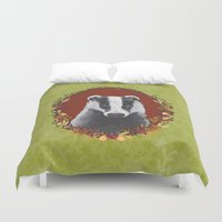badger Duvet Covers featuring Badger Portrait by Michelle Grace