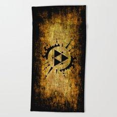 Legend Of Zelda Triforce Grunge Beach Towel