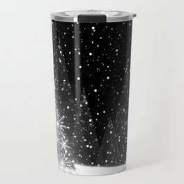 Elegant Black and White Christmas Trees Holiday Pattern Travel Mug