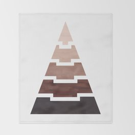 Raw Umber Aztec Pyramid Triangle Egypt Minimalist Mid Century Modern Watercolor Geometric Pattern Throw Blanket