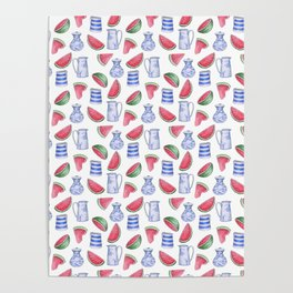 Melons and Jugs Pattern, White Poster