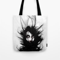 wrestling Tote Bags featuring Coiling and Wrestling. Dreaming of You by Rouble Rust
