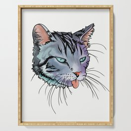 cat sticking out tongue digtal art Serving Tray