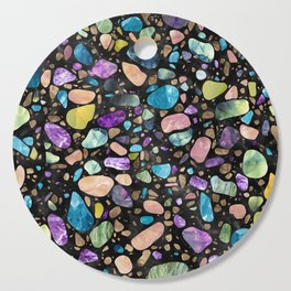 Terrazzo - Gemstones and Gold - Black Marble Cutting Board