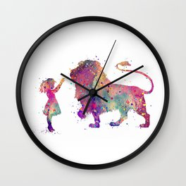 Girl and Lion Colorful Watercolor Art Animals Lover Gift Wall Clock