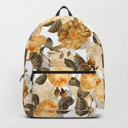 Vintage & Shabby Chic - Yellow Sepia Botanical Rose Flower Garden Backpack