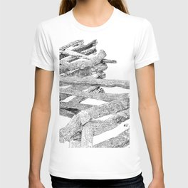 split rail fence, drawing T-shirt
