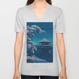 Tsuchiya Kôitsu Japanese Woodblock Vintage Print Blue Winter Snow Pagoda On Lake Unisex V-Neck
