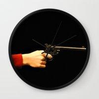 gun Wall Clocks featuring gun by Maleila