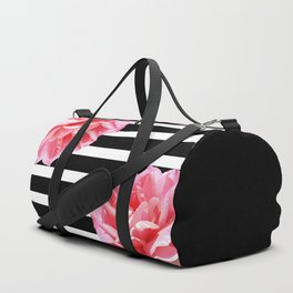 Pink roses on black and white stripes Duffle Bag