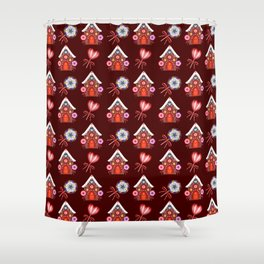 Gingerbread houses, hearts candy lollipops. Retro vintage cozy Christmas pattern Shower Curtain