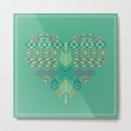Aztec Heart Metal Print
