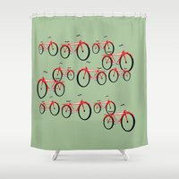 bikes Shower Curtains featuring Bikes  by David Michael Schmidt