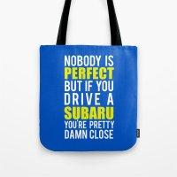 subaru Tote Bags featuring Subaru Owners  by Barbo's Art