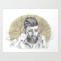 beard Art Prints featuring beard by mirart