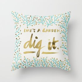Dig It – Gold & Turquoise Throw Pillow