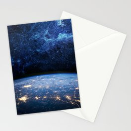 Earth and Galaxy Stationery Cards
