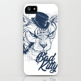Angry sphinx cat with a tube - Bad Kitty iPhone Case