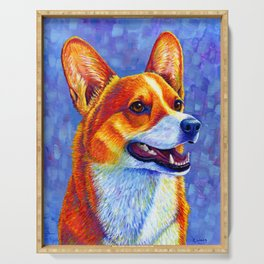 Colorful Pembroke Welsh Corgi Dog Serving Tray