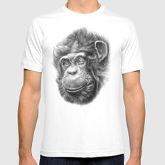 Wise Chimp SK067 White Mens Fitted Tee MEDIUM