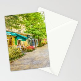 Paris, France in the spring watercolour style oil-paint Stationery Cards