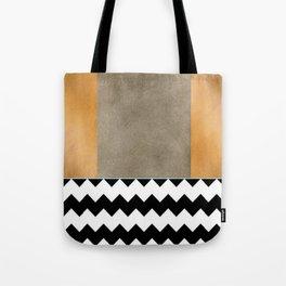 Shiny Copper Coffee Glaze And Black And White Chevron Pattern Tote Bag