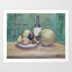 Cantaloupe Still Life WC150919a Art Print