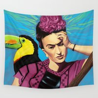 frida kahlo Wall Tapestries featuring Frida Kahlo by Brad Collins Art & Illustration