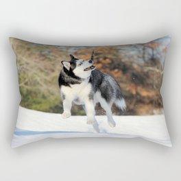 Siberian Husky Plays with Stick Rectangular Pillow