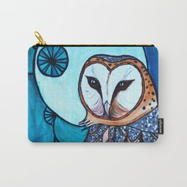 Barn Owl Art Nouveau Panel in blue Carry-All Pouch
