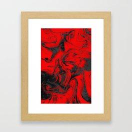 Black & Red Marble Framed Art Print