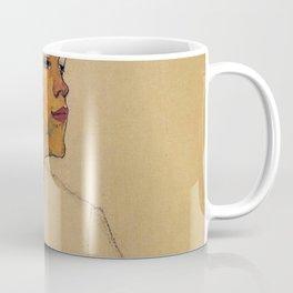 SELF PORTRAIT WITH HANDS ON CHEST - EGON SCHIELE Coffee Mug