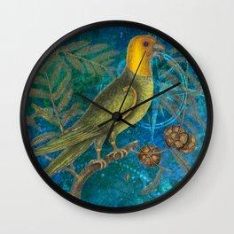 Carolina Parakeet with Cypress, Antique Natural History and Botanical Wall Clock