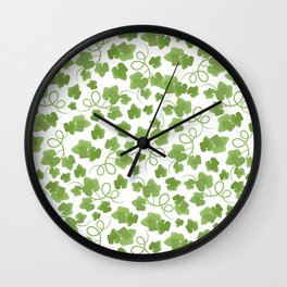 GREEN LEAVES Watercolor Hand Drawn Seamless Pattern Wall Clock