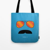 tom selleck Tote Bags featuring MAGNUM (Tom Selleck) by Alberto Lamote de Grignon
