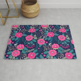 Floral pattern. Bright beautiful roses on a blue background. Rug